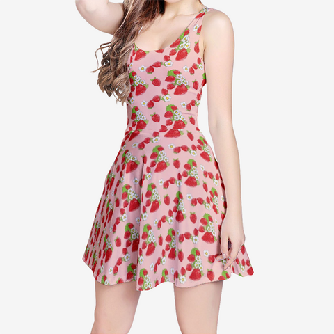 Strawberry Patch Women's Sleeveless Casual Flared Skater Dress