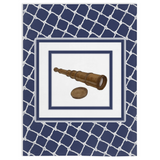 Nautical Telescope on White Netting on Navy - Minky Blankets