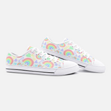 Pastel Love, Rainbows and Hearts Design - Unisex Low Top Canvas Shoes