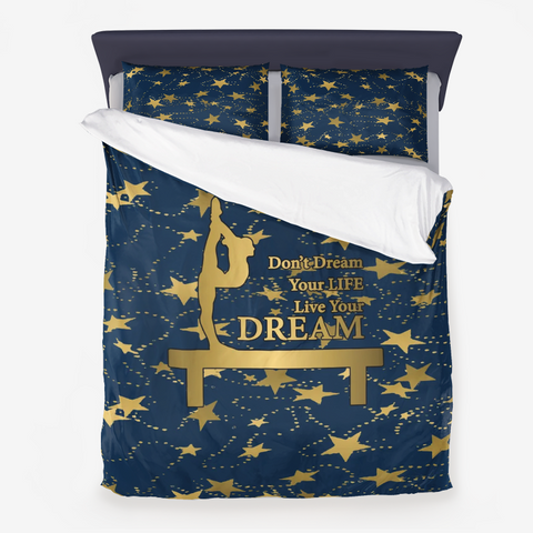 Gymnastics Live Your Dream on Navy and Gold Stars -Duvet Set includes Pillow Sham(s)