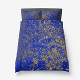 Royal Blue and Gold Patina Microfiber Duvet Cover with Pillow Sham(s)