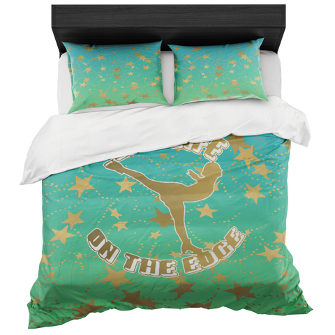 Figure Skating Live Life on the Edge-Lime to Blue Gradient and Gold Stars Duvet- Bed-in-a-Bag Set-Includes Two Pillow Shams
