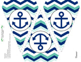Nautical Baby Girl  Collection- Banner Collection - Printable Party Favors