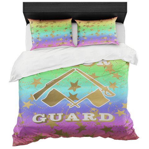 Color Guard Pastel Rainbow and Gold Stars Duvet- Bed-in-a-Bag Set-Includes Two Pillow Shams