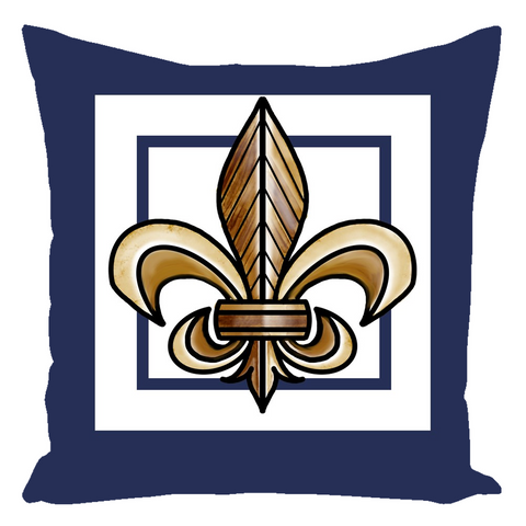 Fleur Dis Le in Aged Gold on Blue Depth Throw Pillows