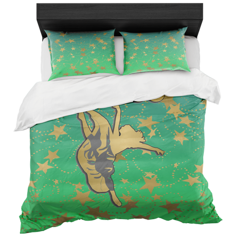 Dancer Silhouette in Gold with Stars on Lime Gradient-Duvet with 2 Pillow Shams