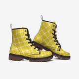 Nautical Rope in White on Illuminating Yellow Design Casual Leather Lightweight Boots- Unisex Shoes