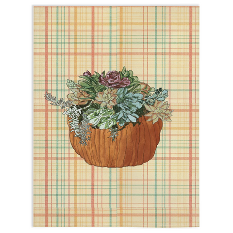 Succulents In Pumpkin on Fall Plaid Minky Fleece Blankets