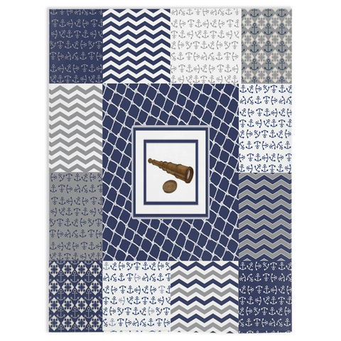 Nautical Quilt Pattern Design in Navy and Grey - Minky Blankets