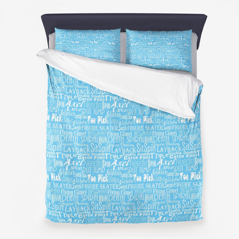 Figure Skating Subway Design on Blue Microfiber Duvet Cover with Pillow Sham(s)
