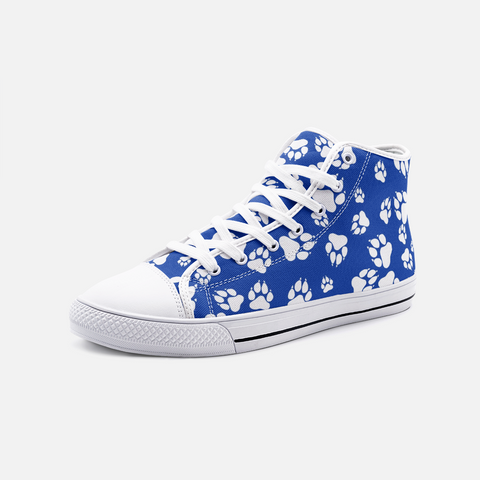 Wildcats Paw Print white on Blue -  Unisex High Top Canvas Shoes