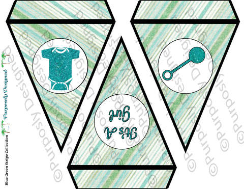 Baby Shower Blue and Green Collection- Printable Baby Shower Combo Banner -  Printable Party Favors