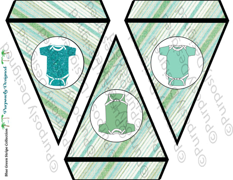 Baby Shower Blue and Green Collection- Printable Baby Shower Combo Banner Style 3-  Printable Party Favors
