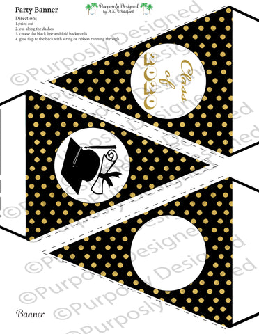 Graduation Collection- Black and Gold Digital Foil-Printable Graduation Party Banner - Printable Party Favors