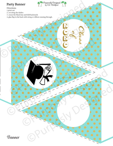 Graduation Collection- Mint and Gold Digital Foil-Printable Graduation Party Banner - Printable Party Favors