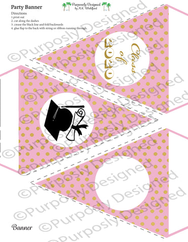 Graduation Collection- Pink and Gold Digital Foil-Printable Graduation Party Banner - Printable Party Favors