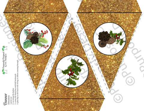 Pine and Berry Collection-Gold Glitter-Printable Holiday Party Banner - Printable Party Favors