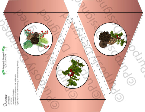Pine and Berry Collection-Rose Gold Foil-Printable Holiday Party Banner - Printable Party Favors