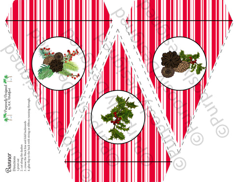 Pine and Berry Collection-Red and White Stripe-Printable Holiday Party Banner - Printable Party Favors