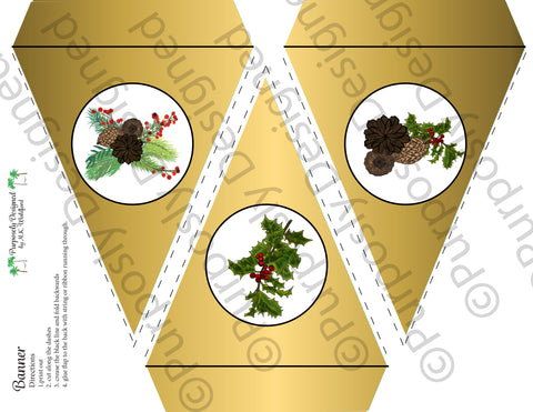 Pine and Berry Collection- Gold Foil-Printable Holiday Party Banner - Printable Party Favors