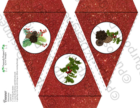 Pine and Berry Collection- Red Glitter-Printable Holiday Party Banner - Printable Party Favors