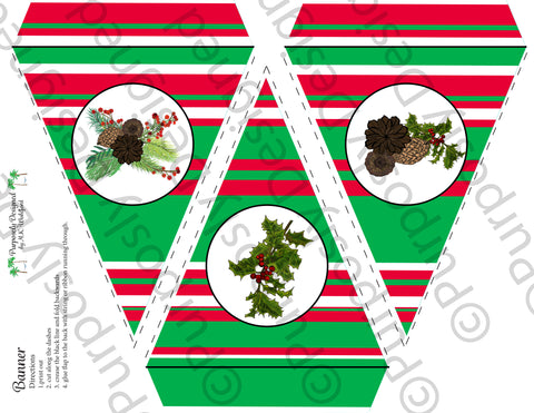 Pine and Berry Collection-Red, Green and White Stripe-Printable Holiday Party Banner - Printable Party Favors
