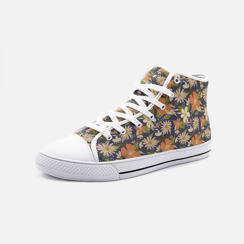 Retro Tropical Floral Print in Orange and Cream on Navy - Unisex High Top Canvas Shoes