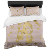 Ballet Shoes Silhouette in Gold with Stars on Pale Pink- With 2 Pillow Shams