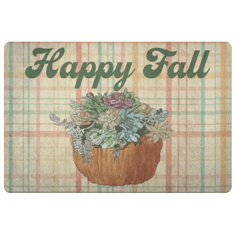 Happy Fall Pumpkin and Succulet on Plaid Door Mat