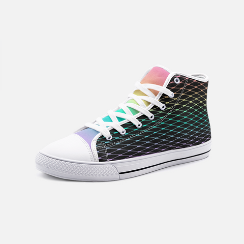 Fishnet in Pastel Rainbow on Black Unisex High Top Canvas Shoes
