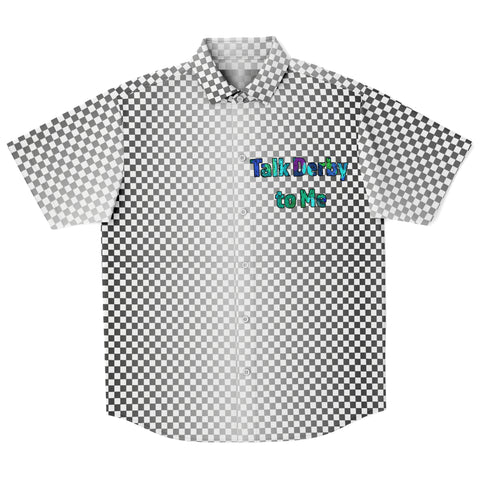 Talk Derby to Me-Silver Checker Pattern Button Down Shirt Men's/Unisex -Derby Skating