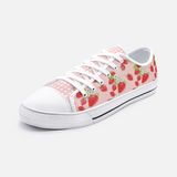 Strawberry Patch with Pink Grid -  Unisex Low Top Canvas Shoes