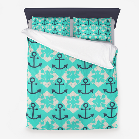 Nautical Knots and Anchors Design on Turquoise - Microfiber Duvet Cover with Pillow Sham(s)