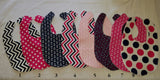 Navy and Pink Baby Bib and Burp Cloth sets-Handmade
