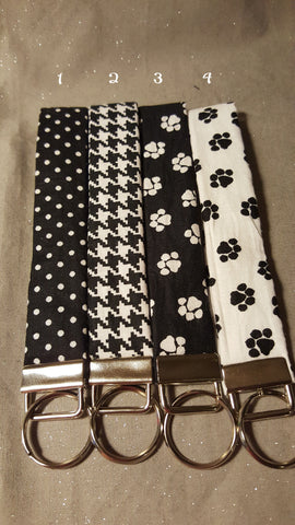 Black and White Collection  Fabric  Key Fob's