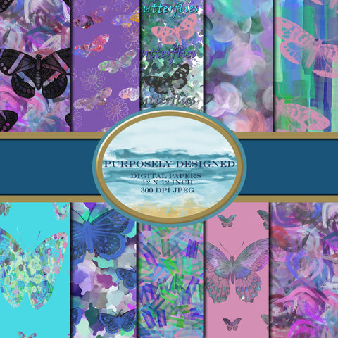 Butterfly and Watercolor Abstract Printable Digital Paper Design Pack- Instant Download-12 x 12 inch 300 dpi JPEG files