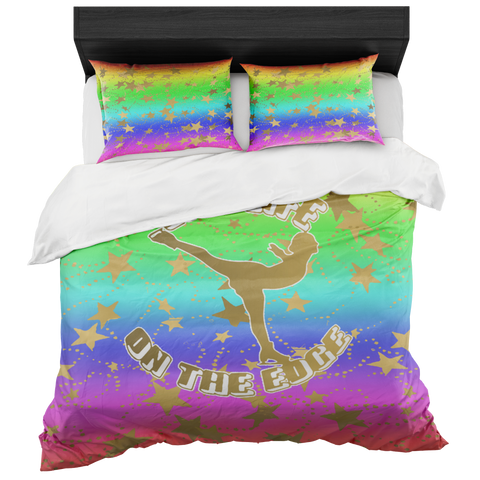Figure Skating Live Life on the Edge- Rainbow 2 and Gold Stars Duvet- Bed-in-a-Bag Set-Includes Two Pillow Shams