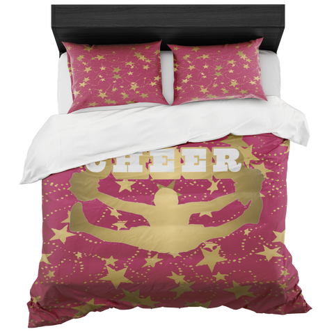 Cheer Silhouette With Stars in Gold and Berry -Duvet -Bed-in-a-Bag- Includes Two Pillow Shams