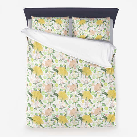 Peonies Abound Pattern in Yellow and Pastel Coral Collection - Microfiber Duvet Cover