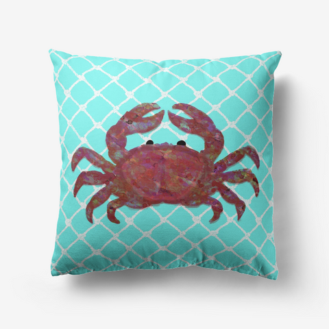 Kaleidoscope Crab in Red and White Netting on Turquoise Background Premium Hypoallergenic Throw Pillow
