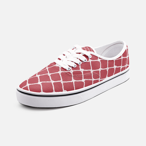 Nautical Rope Deign in White on Samba Red -Low Top Canvas Shoes-Unisex/Men's Shoes