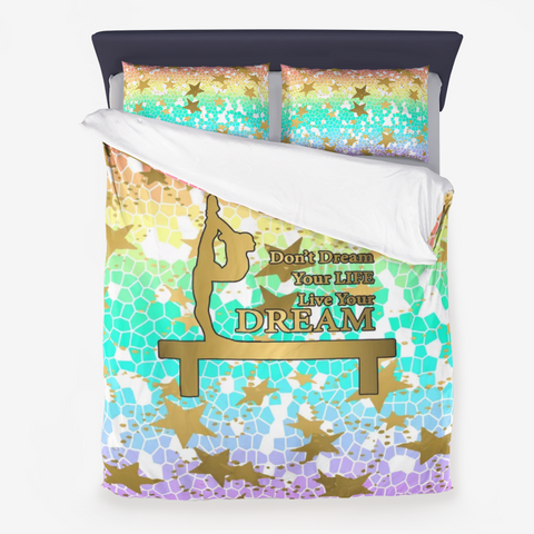 Pastel Rainbow Mosaic and Gold Stars Dream Design- Gymnastics Design Microfiber Duvet Cover