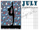 Blank Gymnastics Calendar - Instant  Download- Printable JPEG