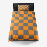 Tennessee Orange and Smokey Grey Checker Pattern Microfiber Duvet Cover and 2 Pillow Shams (1 with the twin size)