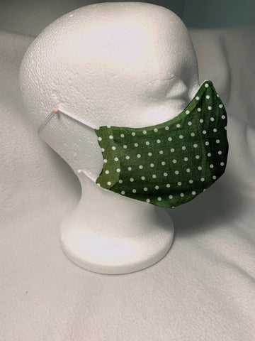 Face Masks in 3D Cone Shape -100% Quilters Cotton -Christmas Green and Mini Dots Fabric- Adjustable Sizing Face Mask