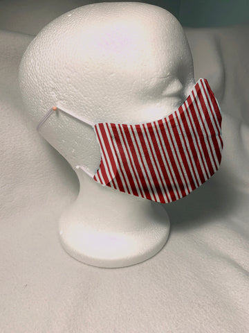 Face Masks in 3D Cone Shape -100% Quilters Cotton -Christmas Red and White Stripe Fabric- Adjustable Sizing Face Mask