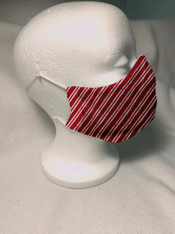 Face Masks in 3D Cone Shape -100% Quilters Cotton -Christmas Red and White Diagonal Stripe Fabric Adjustable Sizing Face Mask