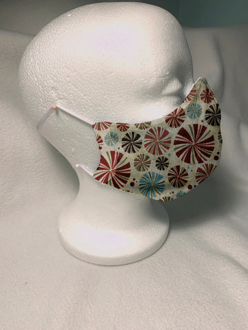 Face Masks in 3D Cone Shape -100% Quilters Cotton -Christmas Red, Green and Blue Pin Wheels Fabric Adjustable Sizing Face Mask