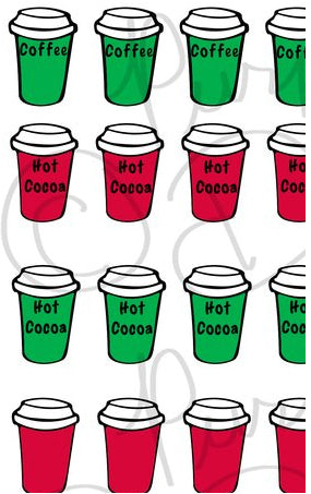 Christmas Red and Green To-Go Cocoa/Coffee Cup Sticker Set 1- Planner Sticker Sheet-DOWNLOAD
