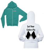 Let Your Colors Fly-Color Guard Zip-Up Hoodie-Features front and back printing